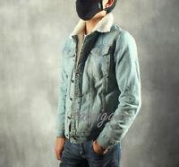 Mens Retro Fur Lining Fleece Jacket Korean Slim Fit Jean Jacket Vogue Denim Coat
