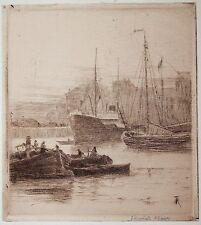 Remorsure par Richard Toovey (1861-1927). Docks Anvers. Vapeur BATEAU.
