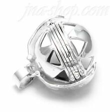 "Sterling Silver 6-Picture Photo Ball Triangle Cutouts Locket Pendant + 30"" Chain"