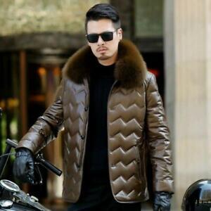Mens Fur Collar Faux Sheepskin Leather Jacket Winter Down Coats Parka Overcoats