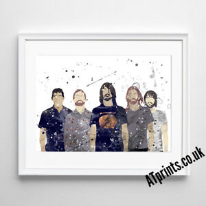 FOO FIGHTERS Print Poster Watercolour Framed Canvas Wall Art Gift idea
