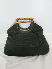GUCCI black textured tote bag with bamboo handles
