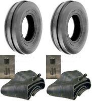 TWO (2) 4.00-15 4.00X15 400-15 Tri-Rib 3 Rib 4 PR Tires Heavy Duty W/Tubes