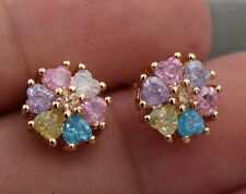 18K Yellow Gold Filled - Flower Heart Cherry Stone Topaz Amethyst Prom Earrings