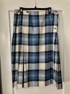 Vintage ALJEAN Woman's Tartan Kilt Skirt Size 18 100% Pure New Wool