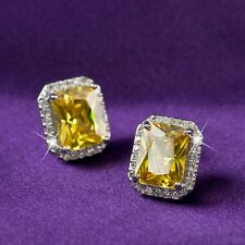 AEIWO 18k white gold gp 925 silver stud yellow crystal citrine earrings classic