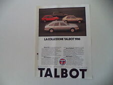 advertising Pubblicità 1979 TALBOT SIMCA 1510/HORIZON/SUNBEAM/MATRA RANCH