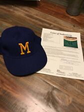 Hank Aaron Game Used Signed Milwaukee Brewers Baseball Cap Hat JSA COA Beautiful