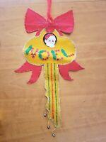 "11"" x 25"" Beautiful Vintage Christmas Door Hanger Felt Santa Key Bells Noel"