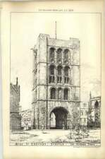 1879 Bury St Edmonds Suffolk, The Norman Tower Drawing By John W Simpson