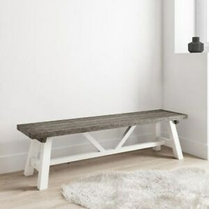 Reclaimed Wood Grey Wash Table Seat Top White Painted Hallway Bench Fawsley Long