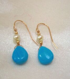 Solid 14KT Rose Gold Natural Arizona Turquoise & Cultured Pearl Earrings