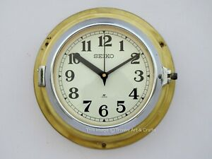 Vintage Navigation Maritime Industrial Clock Brass Coated Slave ship Seiko Japan