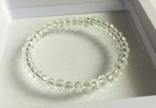 Clear Faceted Glass Bead Memory Wire Bangle / Bracelet.