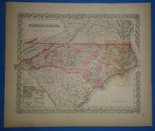 Vintage 1857 NORTH CAROLINA Map - Old Original Hand Colored Colton's Atlas