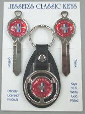 Red MUSTANG Pony Logo White Gold Deluxe Classic Key Set 1988 1989 1990 NOS Keys