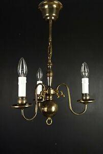 Lovely Vintage Brass Flemish 3 Arm Delft Chandelier Light