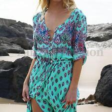Zanzea Women Buttons Summer V Neck Vintage Floral Boho Long Maxi Sundress Dress