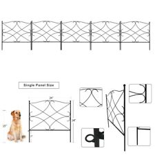 "5 Panel 24""x24"" Iron Garden Yard Fence Panels Dog Border Flowers Plants Fencing"