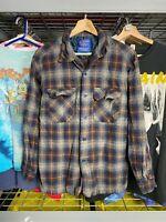 Mens Large Pendleton Wool Brown Blue Plaid Button Up VTG Flannel Shirt