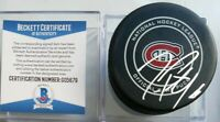 BECKETT COA DAN PETRY SIGNED MONTREAL CANADIENS OFFICIAL GAME PUCK NHL BETTMAN