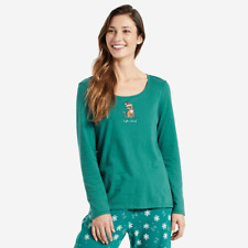 Life is Good Women's Long Sleeve Sleep T Santa Cat on Forest Green -Small