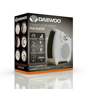 Daewoo 2000W Flat or Upright Fan Heater with 2 Heat Settings