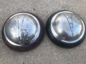 """Pair (2) 1938 Ford Deluxe V8 12.5"""" Dog Dish Two-Piece Hubcaps Poverty V8 Logo 38"""
