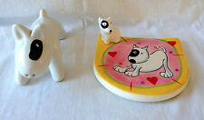2 Bull Terrier Ceramic Figures / Hues & Brews Coaster & Salt Shaker