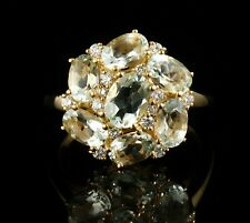 BACHENDORFS BOCK FINE NATURAL 4.33ctw AQUAMARINE & DIAMOND 14K GOLD CLUSTER RING