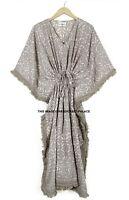 Anokhi Hand Block Aufdruck Damen Kurzer Kaftan Maxi Kleid Abendkleid Indisches