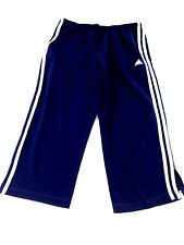 ADIDAS WOMENS NAVY & WHITE STRETCH POLYESTER CROPPED ATHLETIC PANTS SIZE M