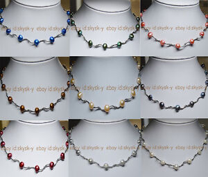 Wholesale Real Natural 8-9mm multi-colored Baroque Freshwater Pearl Necklaces AA