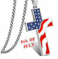 4th Of July American Flag Metal Necklace Pendant For Women Men GOD BLESS AMERICA