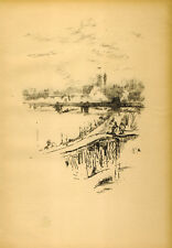 James McNeill Whistler - Savoy Pigeons.1898 Lithographie Londen Thames