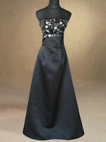 BLACK FORMAL BRIDESMAIDS/EVENING/WEDDING/PROM/PARTY DRESS BALLGOWN 8,10,12,14