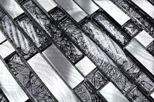 Mosaïque aluminium verre Composite cristal noir argent bain 49-0304_b   1 plaque