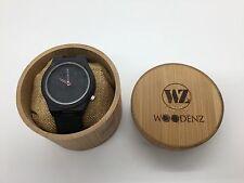 Woodenz Handcrafted Ebony Wood Watch, Japanese Miyota Quartz, Real Leather Strap