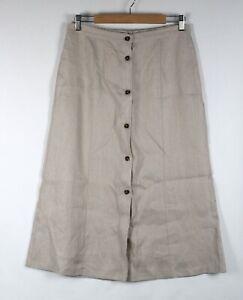 NONI B Midi Skirt Size 10 Linen Beige Button Front A Line Half Elastic Waist