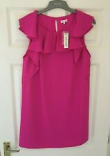 BNWT RIVER ISLAND SZ 12 PINK FRILL TUNIC SHIFT SUMMER DRESS NEW WITH TAGS