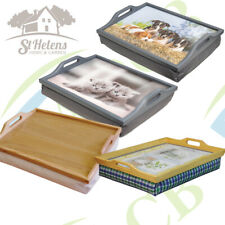 Wooden Lap Tray with Cushion Kittens, Puppies, Herbs, Varnished Wood Dinner Tray