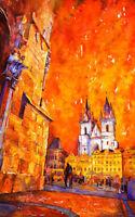 Prague watercolor painting.  Fine art print of church in Prague. Watercolor art