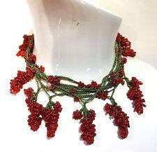 red mulberry bead turkish oya crochet necklace handmade christmas freeshipping