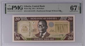 Liberia 20 Dollars 2011 P 28 g Superb Gem UNC PMG 67 EPQ