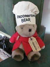 Paddington Bear with Chef's Hat, Red Coat, Original Travel Tag, Stuffed Bear