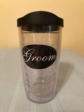 *EUC* 16 ounce Tervis Tumbler Groom Patch with Black Travel Lid
