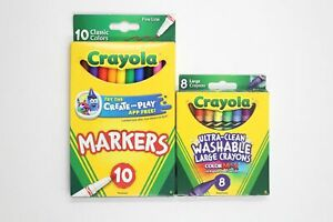 Crayola Combo 8 Large Crayons + 10 Fine Markers Non-Toxic School Art Supplies