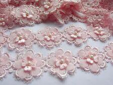 "2y Flower Lace Edge 2"" Trim Ribbon Wedding Applique DIY Sewing Crafts-Baby Pink"