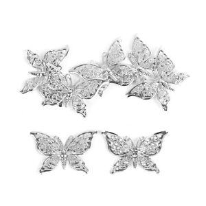 25 x Small Silver Filigree Butterflies Embellishment Metal Wings Card Craft