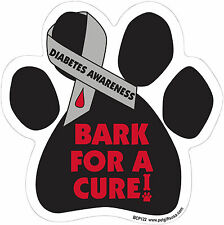 Dog Magnetic Paw Decal - Bark For A Cur - Diabetes Awareness - Made In USA
